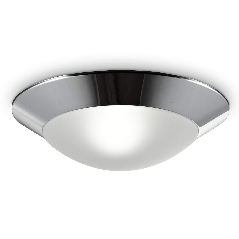 Lámpara de techo o pared IP44 max. 40W Ø310mm, Casquillo E27, Plafón para baño con borde cromado 230V, Aplique pared, Interior y exterior: Amazon.es: ...