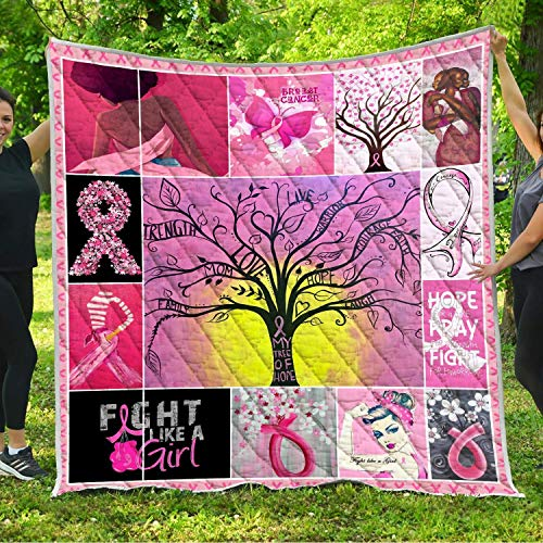 - Breast Cancer Survivors Quilt Pattern Blanket All-Season Quilts Comforters with Reversible Cotton King Queen Full Twin Size Quilted Pink Ribbon Gifts