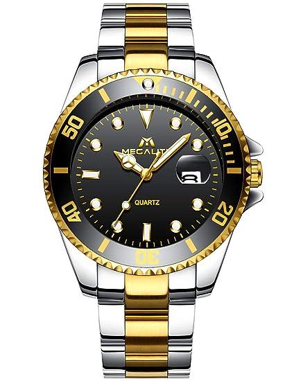 Relojes Hombre Acero Inoxidable Oro Reloj de Pulsera Impermeable Fecha Calendario Diseño Analogicos Reloj de Cuarzo para Hombres Unisexo Negocio ...