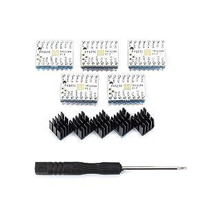 FYSETC 3D Printer Stepper Motor Driver TMC2208 V1.2 Stepstick Stepper Motor Driver Module Carrier with Heat Sink Screwdriver for 3D Printer Controller Boards Ramps1.4 MKS Gen Mega i3 White 5Pcs