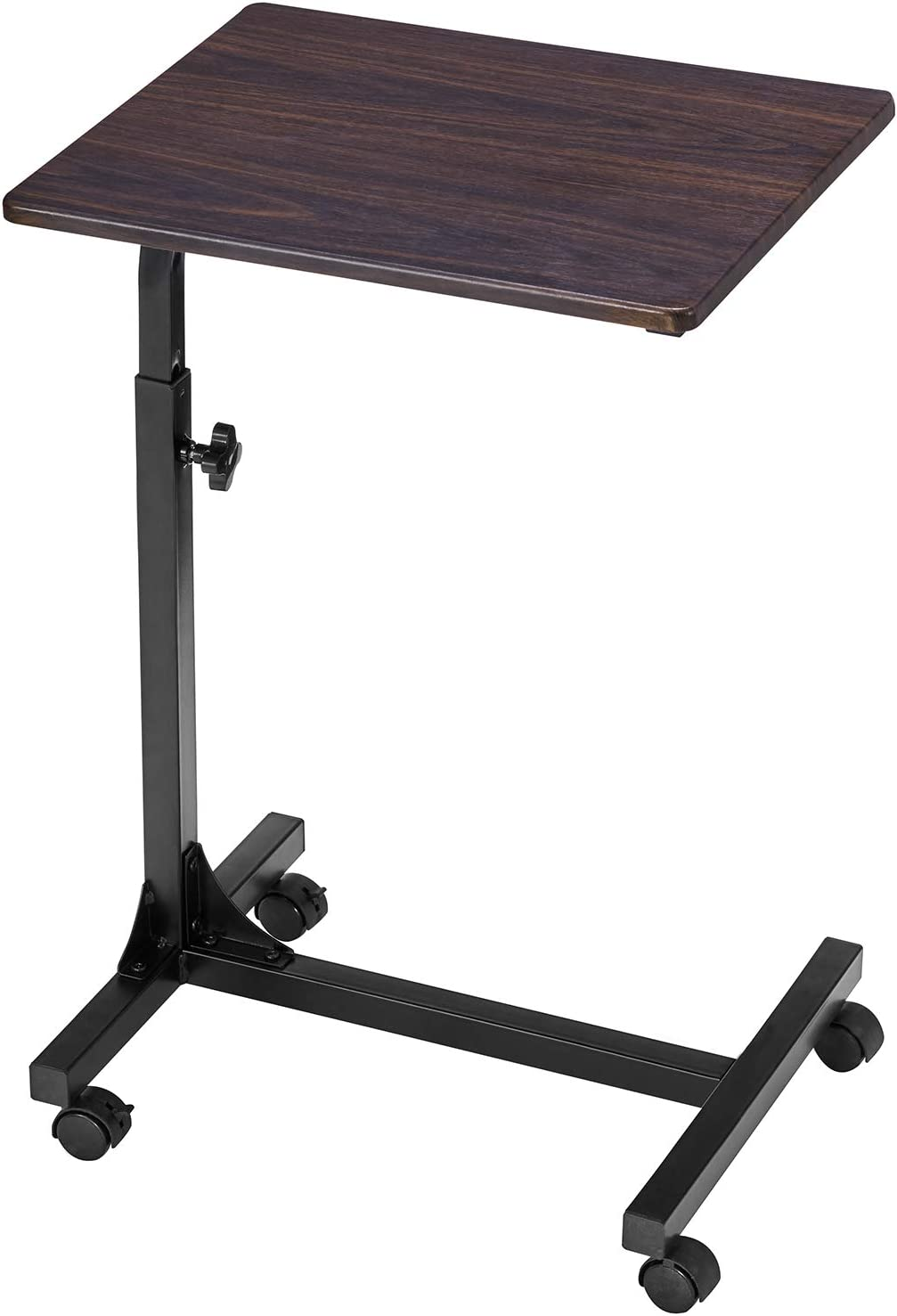 Coavas Over Bed Table C Side Rolling Table with Lockable Wheels Medical Portable Notebook Laptop Desk 3 Adjustment Levels TV Tray Table for Eating Breakfast, Walnut (18.9 x 14.6 x 26.4-31.1 inch)