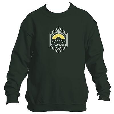 Steamboat Springs Yellow Mountain Sunrise - Colorado Youth Fleece Crew Sweatshirt - Unisex