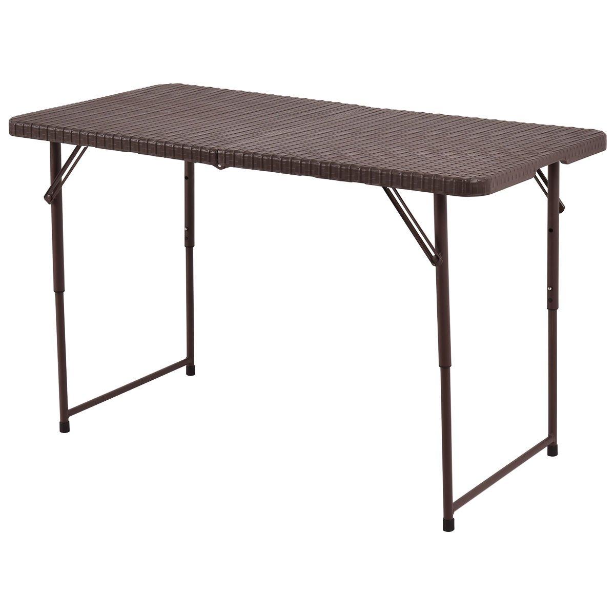 FDInspiration 4FT Brown Portable HDPE Table Folding Rattan Design Adjustable Hight w/Carry Handle