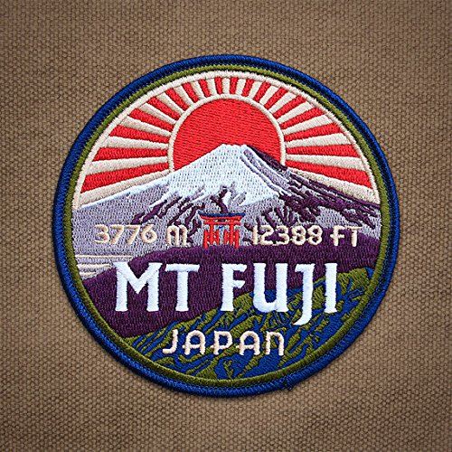 Mount Fuji Japan Patch Embroidered Iron / Sew on Badge Asia Trekking Trail Applique Souvenir