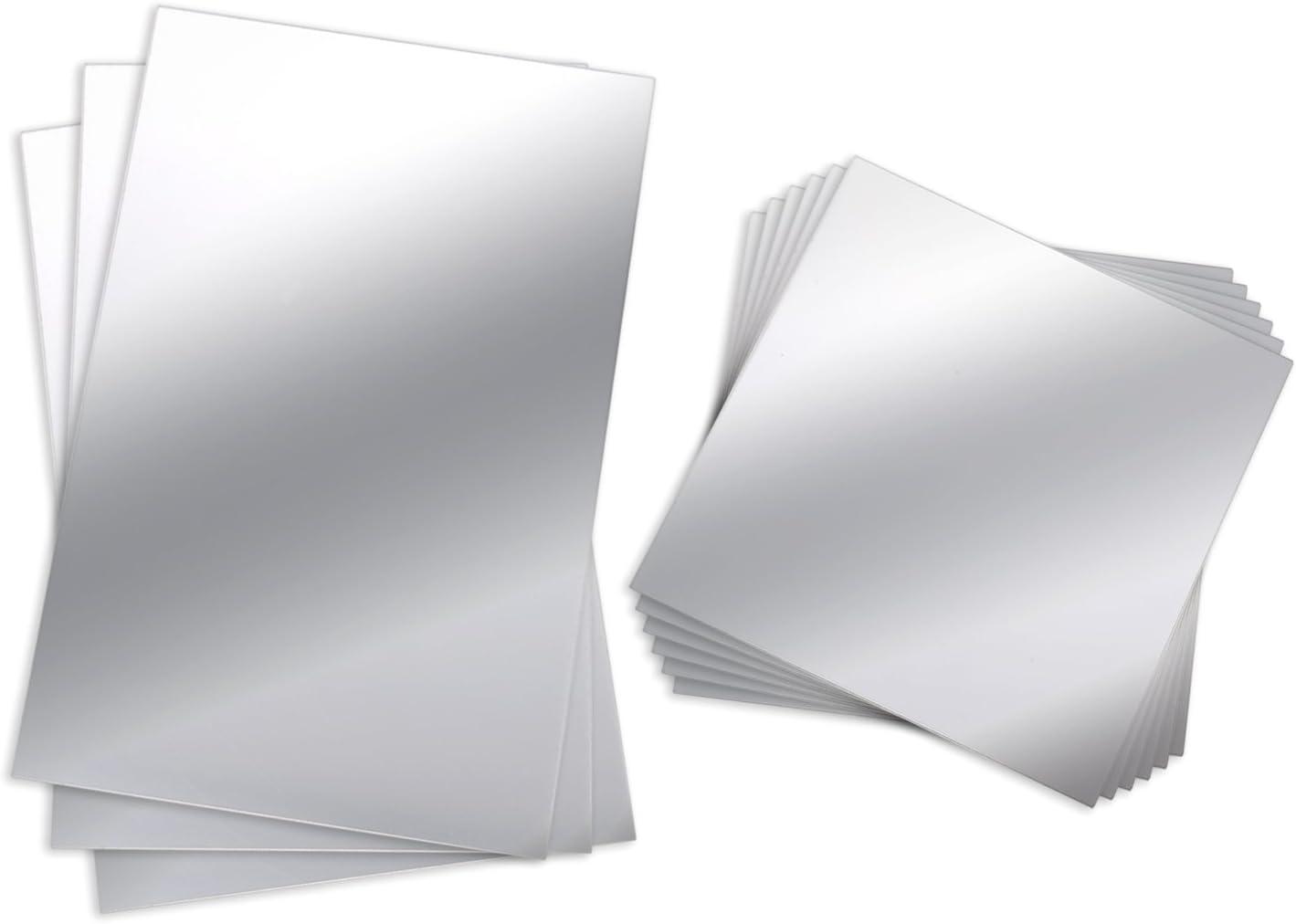 BBTO 9 Piezas Hojas de Espejo de Plástico Flexible no Vidrio Espejo de Azulejo Autoadhesivo Pegatina de Pared, 6 Pulgadas por 6 Pulgadas y 6 Pulgadas por 9 Pulgadas