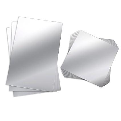 BBTO 9 Pezzi Specchio da Parete Flessibile Specchio Non Vetro Specchio in  Plastica Autoadesiva Specchi di Piastrelle Adesivi da Muro, 6 Pollici da 6  ...
