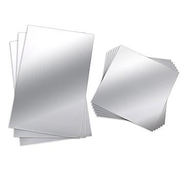 Bbto 9 Stück Spiegelblätter Flexibler Nicht Glas Spiegel Kunststoff Spiegel Selbstklebende Fliesen Spiegel Wandaufkleber 6 Zoll X 6 Zoll Und 6 Zoll X