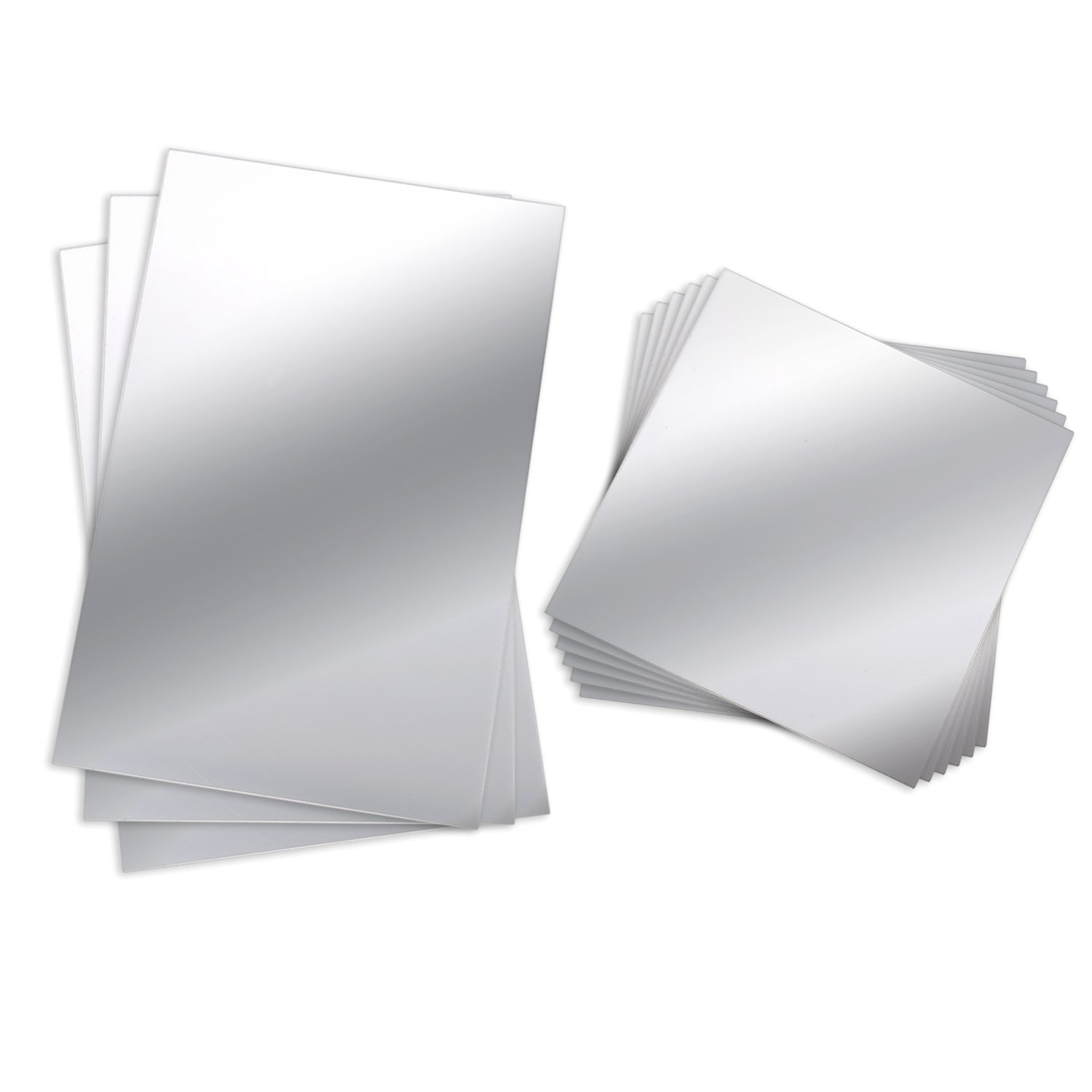 BBTO 9 Pieces Mirror Sheets Flexible Non Glass Mirror Plastic Mirror Self Adhesive Tiles Mirror Wall Stickers, 6 Inch 6 Inch 6 Inch 9 Inch