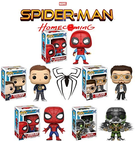 Pop! Movies: Spider-Man Homecoming Spider-Man, Spider-Man (Homemade Suit), Peter Parker, Tony Stark and Vulture Vinyl Figures Set of