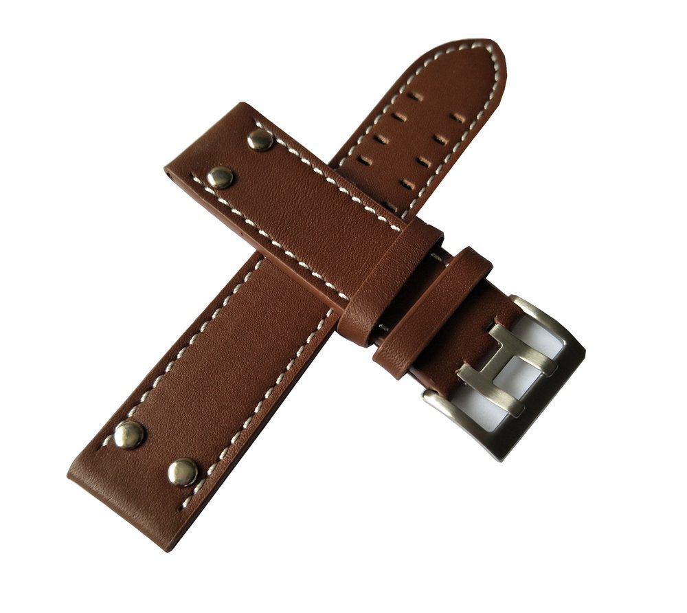 MSTRE NP125 22mm Watch Band Suitable for Hamilton Watches with Steel Buckle for Men&Women (20mm, Brown) by MSTRE (Image #2)