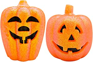 Wondise LED Flameless Flickering Hallowen Pumpkin Candles with 6 Hour Timer, CR2032 Battery Operated Jack O Lantern Home Decoration Real Wax Candles Set of 2