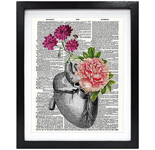 Susie Arts 8X10 Unframed Flowery Heart Upcycled Vintage Dictionary Art Print Book Art Print Anatomical Art Print Wall Art V091