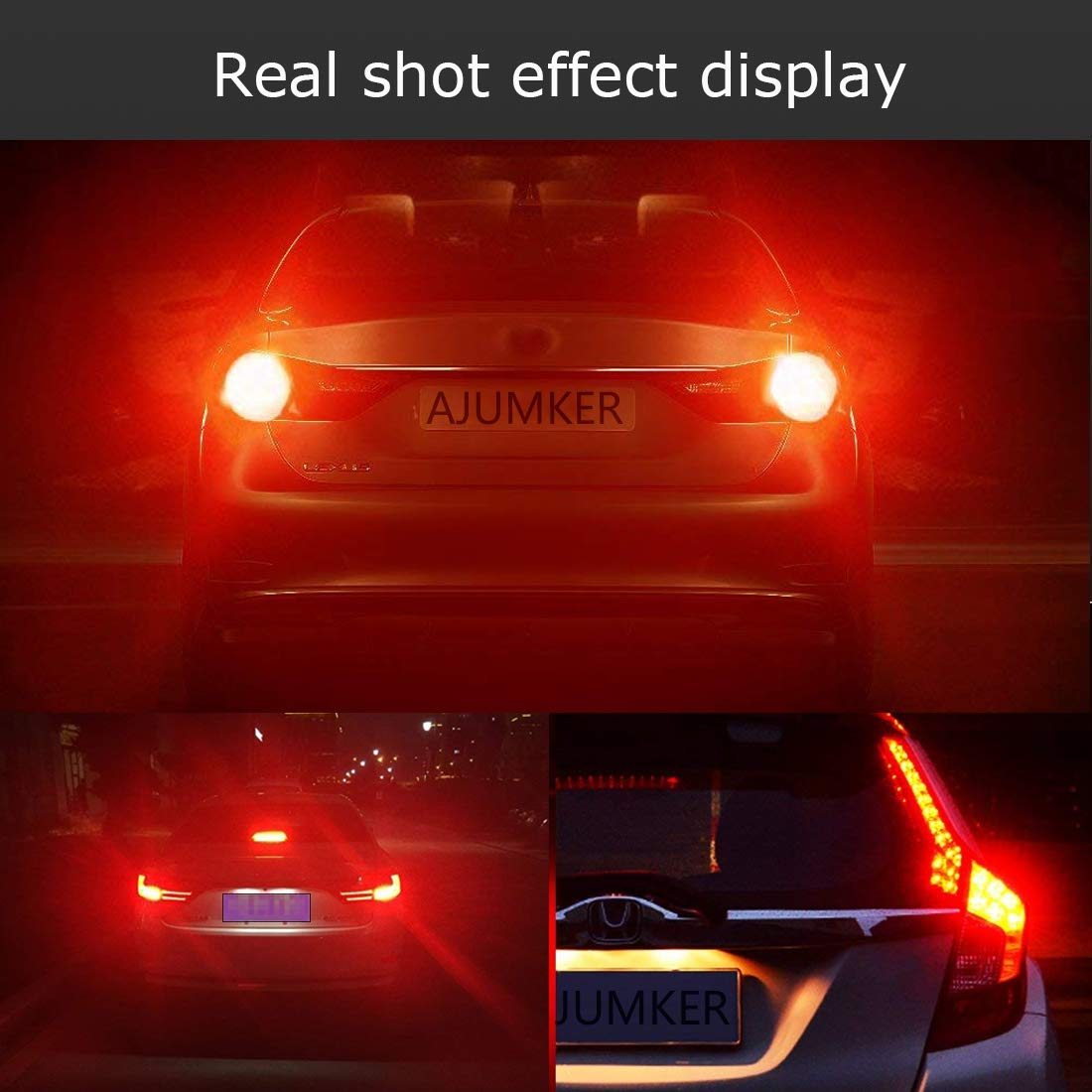 AJUMKER PY21W LED Bulb BAU15S Turn Signal Bulb 7507 2641A Extremely Bright 21 SMD 12-24V High Power Chipsets with Projector Lens Backup Brake Lights Tail Lights Blinkers Red 2-Pack