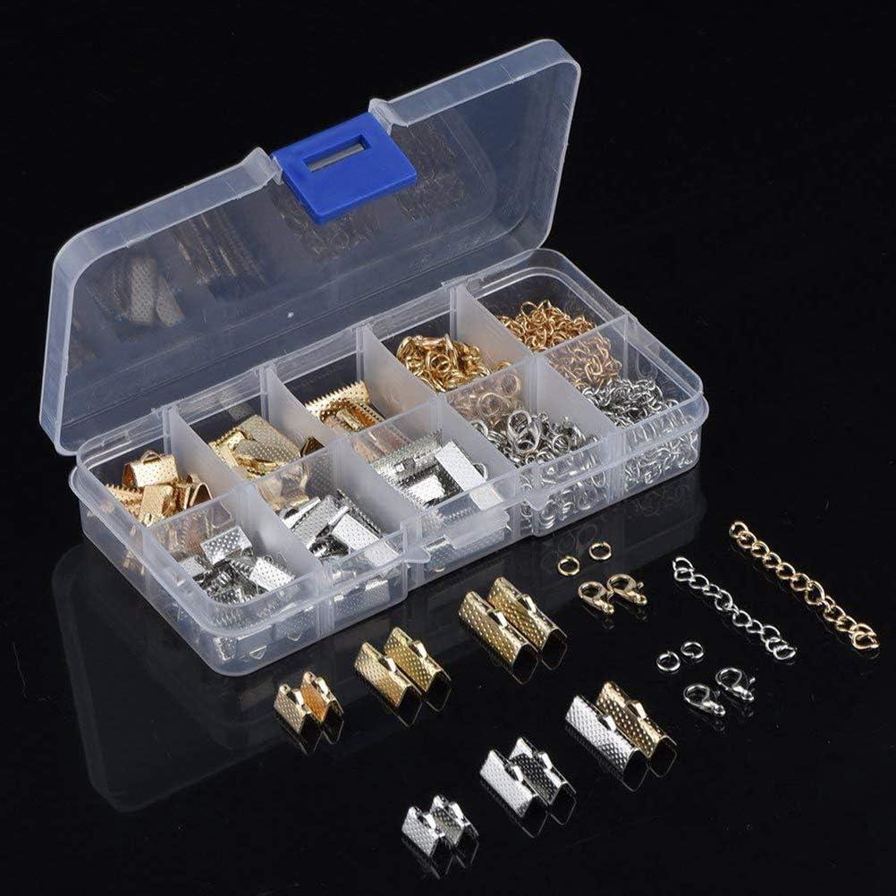 SUPVOX 370Pcs Ruban bracelets kit signet fermoir pour homard fermoirs pince ensemble avec anneaux de saut et extenseurs de cha/îne pour fabrication bijoux