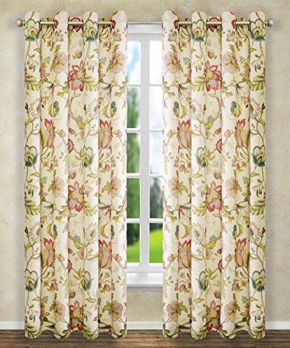 Ellis Curtain Brissac Grommet Panel, 50 x 84, Red (Flowered Green Curtains)