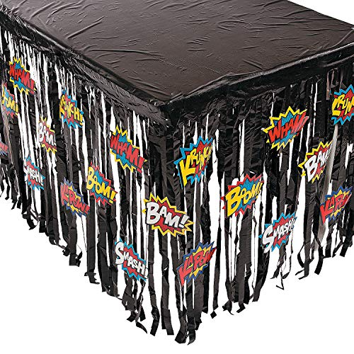 Fun Express - Superhero Tableskirt W/cutouts - Party Supplies - Table Covers - Table Skirts - 1 Piece