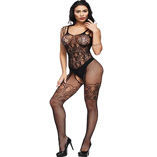 ce3d75f384 Image Unavailable. Image not available for. Color  Green Ink Women Lingerie  Fishnet Floral Lace Crotchless Bodystockings Bodysuits