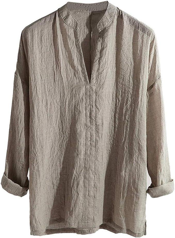 MOTOCO Hombre Camisa Casual de Color sólido de Manga Larga Camiseta de algodón de poliéster con Cuello en V Suelta Top(L, marrón): Amazon.es: Ropa y accesorios