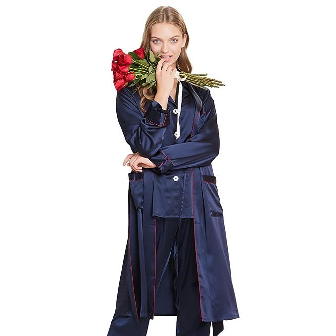Lilysilk Conjunto de Pijamas y Batas para Mujer Estilo Moderno 100% Seda de Mora Natural de 22 Momme, Azul Marino L: Amazon.es: Ropa y accesorios