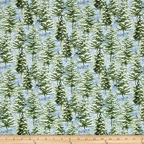 Wilmington Prints After The Snow Pine Trees Fabric by The Yard, Blue