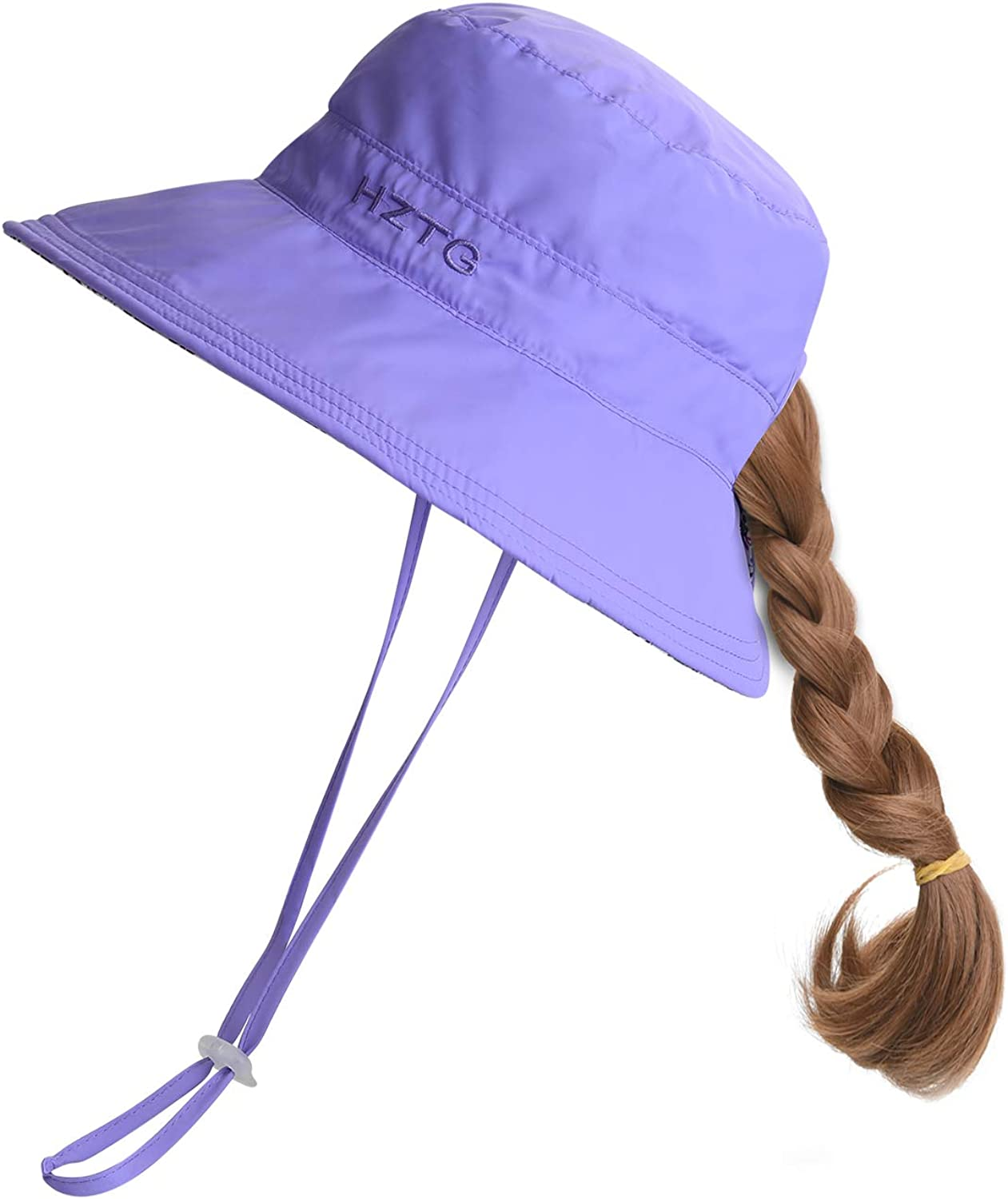 Protection Packable Beach Play Hat with Ponytail Hole Kids Girls Wide Brim Bucket Sun Hat UV50
