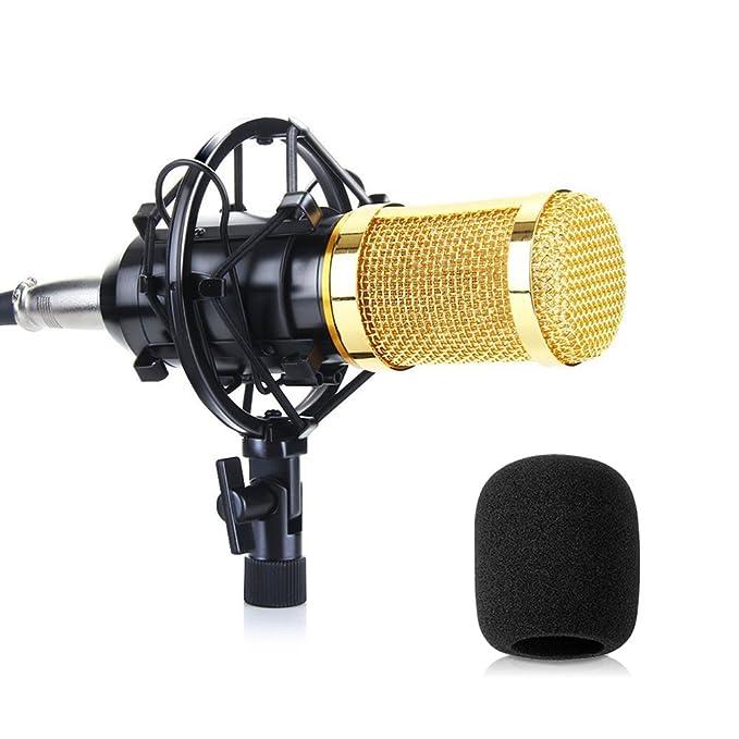 Micrófono PC SUMGOTT Micrófono Condensador con 3,5 mm Jack y Anti-Viento de Espuma Cap para PC, Laptop, YouTube, Skype, Facetime, Vocals, ...