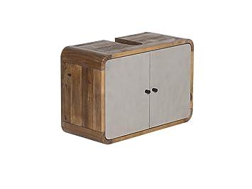 Woodkings® Waschbeckenunterschrank Dingle Holz Pinie Rustikal Und MDF  Betonoptik Grau Badezimmermöbel Unterschrank Badschrank Badmöbel Hängend