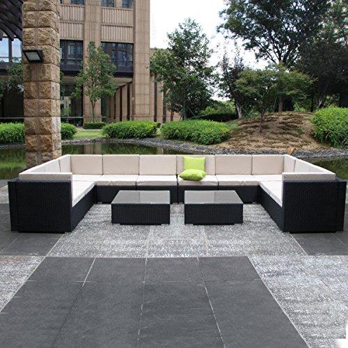 11 Piece Furniture (Umax 7 Piece 7-12 Pieces Patio PE Rattan Wicker Sofa Sectional Furniture Set (12 Pieces, Black))