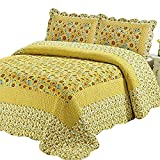 Abreeze 100% Cotton Polka Dot Sunflower Patchwork Bedspreads Quilt Sets Queen