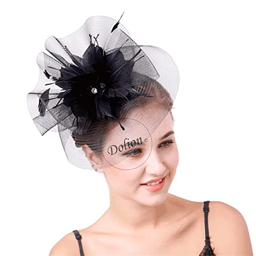 Women s Vintage Feather Flower Fascinators Headband Headwear with Veil for  Bride Bridesmaid b163ca175419
