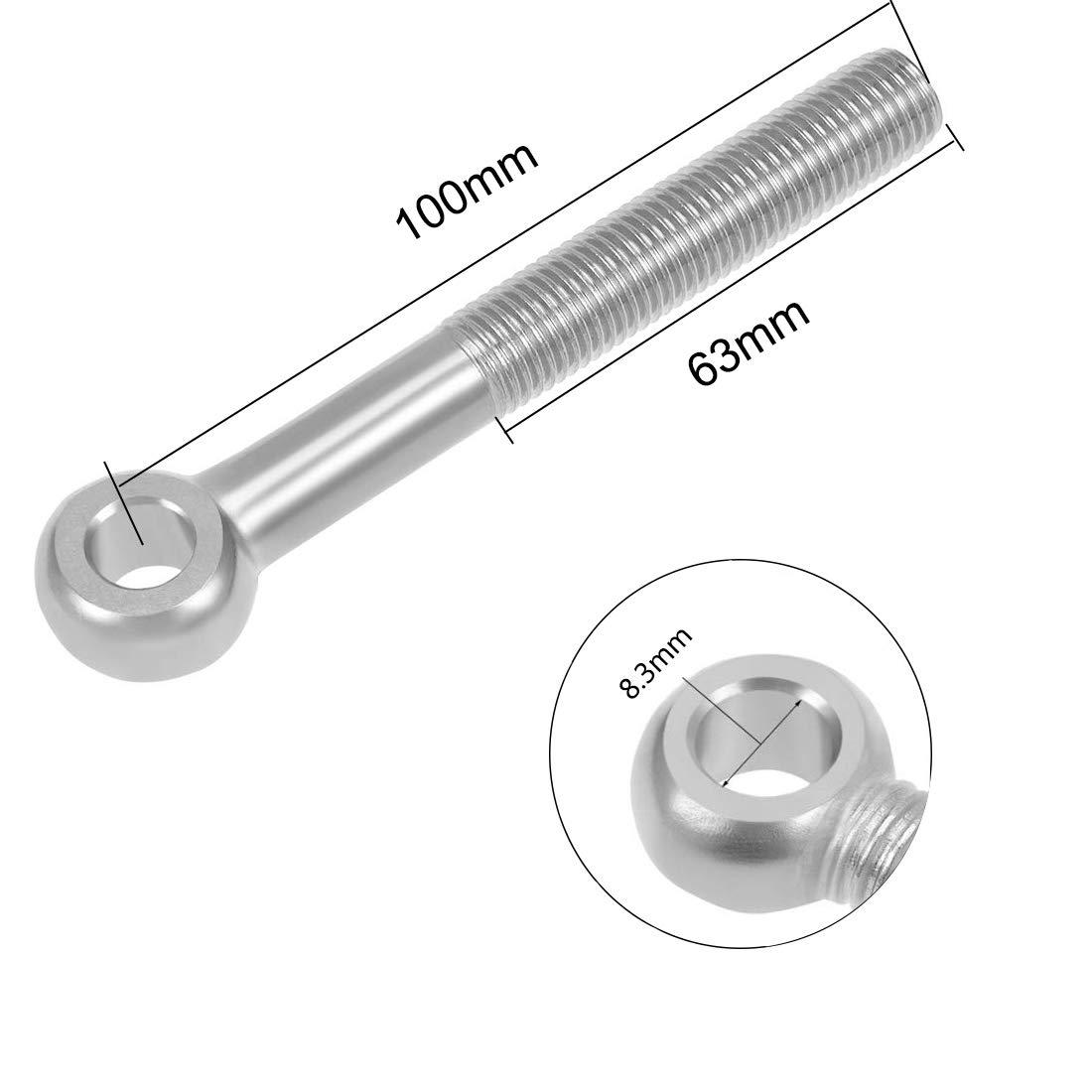 4Pcs YXQ M10x130mm Shoulder Machine Eye Bolts 304 Stainless Steel Machinery Lifting Screws Lift Rigging Silver Tone