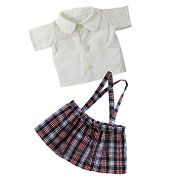 37f253fbe FUNDIY 2 PCS Handmade School Uniform Suits For 18 inch Girl Doll Clothing  Accessory Student School Uniform Clothing Pleated Dress Outfit Suit:  Amazon.co.uk: ...
