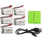 Fytoo 5PCS 3.7V 380mAh Lipo batería y 5 en 1 Cargador para SYMA X5A-1 SYMA X15 X15C X15W RC Quacopter Drone Syma X15W Lipo batería Repuestos