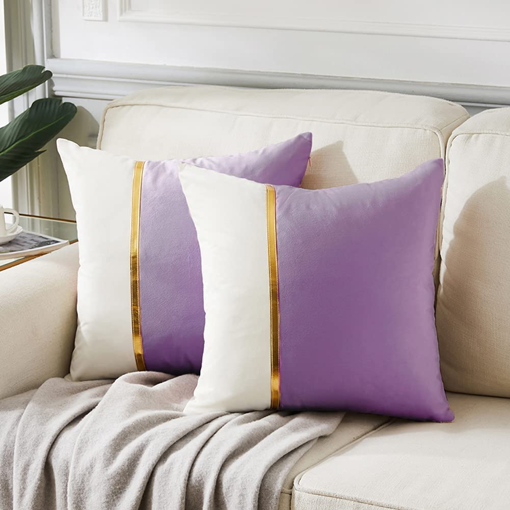 Fancy Homi 2 Packs Decorative Throw Pillow Covers 18x18 Inch for Living Room Couch Bed, Purple and White Velvet Patchwork with Gold Leather, Luxury Modern Home Decor, Accent Cushion Case 45x45 cm