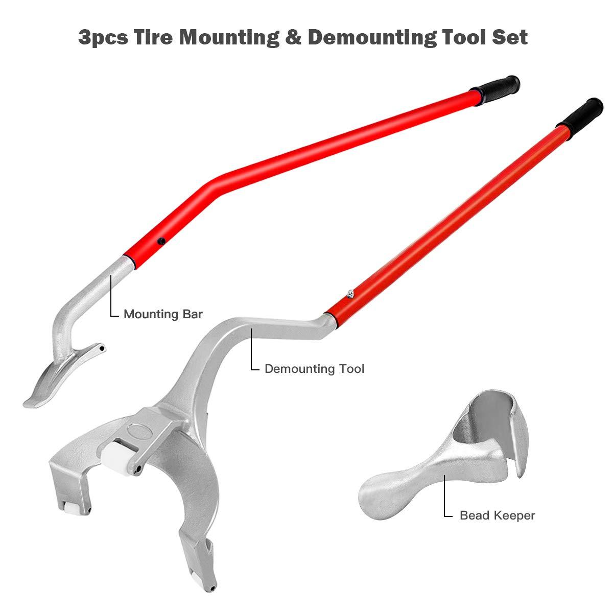Goplus Tire Changer, 17.5'' to 24'' Steel Tire Mount Demount Tool Kit, Tubeless Truck Bead Breaker Manual Tire Changing Tool (Red) by Goplus (Image #4)