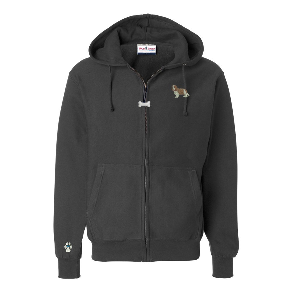 Cavalier Mens Full Zip Hooded Sweatshirt with Embroidered /& Bone Zipper Pull