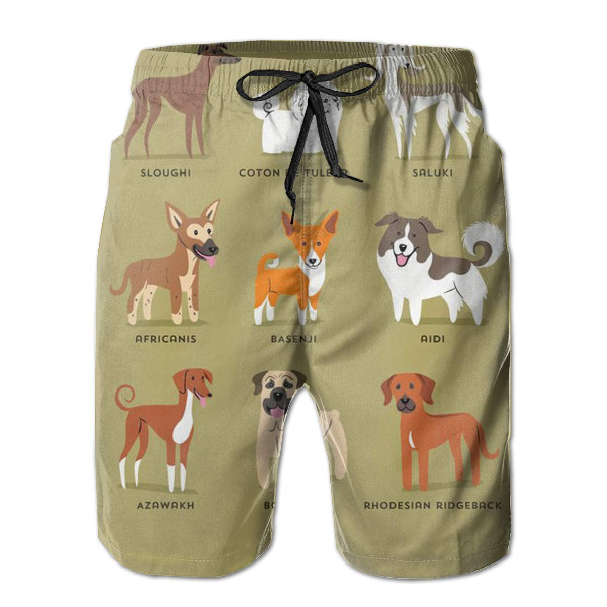LDFUMG Multi-Species Dog Mens Beach Board Shorts Quick Dry Summer Casual Swimming Soft Fabric with Pocket