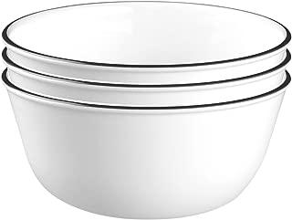 product image for Corelle Livingware 28-Ounce Super Soup/Cereal Bowl, Classic Café Black Rim, 3, White