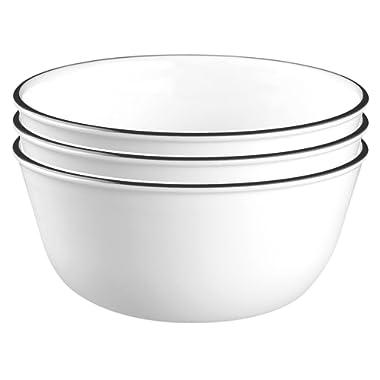 Corelle Livingware 28-Ounce Super Soup/Cereal Bowl, Classic Café Black Rim (3 Bowls)