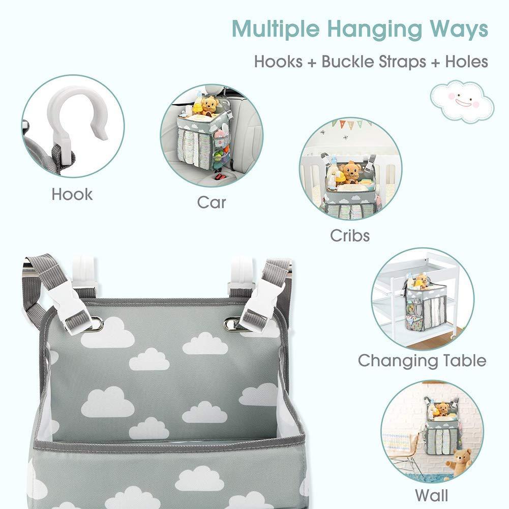 grey Nursery Organizer and Baby Diaper Caddy Crib Side Organizer Hanging Diaper Organizer Diaper Caddy Organizer diaper bag
