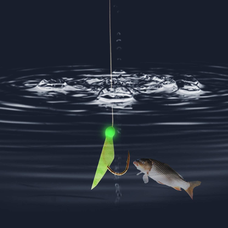 15 Packs Real Fish Skin Rigs Luminous Fishing Bait Rigs Freshwater Saltwater Glow in Dark with Swivel Hooks Size 4 6 8 JSHANMEI Fishing Rigs Fishing Lures