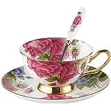 Touch Life - Set di tazze da tè e caffè con piattino, in porcellana Bone China, con rose rosa, colori: bianco e rosa, Porcellana, Multi, Set of 1 with gift box