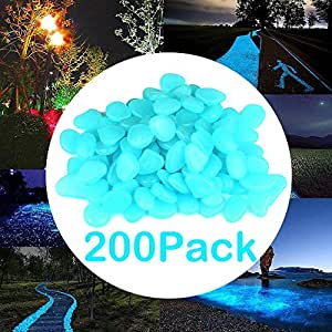 onson 200pcs jardín, brilla en la oscuridad Pebbles, Glow rocas piedras para pasarelas jardín al aire libre decoración acuario pecera piedras decorativas para camino jardín Patio Camino