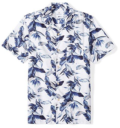 24be64383e8a Galleon - 28 Palms Men's Standard-Fit 100% Cotton Tropical Hawaiian Shirt,  White/Blue Vintage Floral, Large