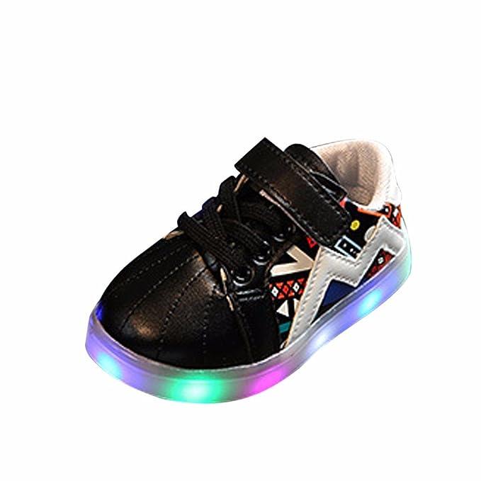 YanHoo Zapatos para niños Luces LED para niños Cinturones mágicos iluminados Zapatos Deportivos con Flash Zapatos Antideslizantes de Goma Zapatillas de ...