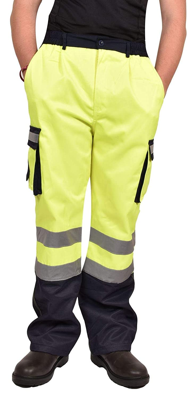 True Face Mens Hi Vis Work Cargo Trouser Reflective Safety Splashproof Visibility Highway