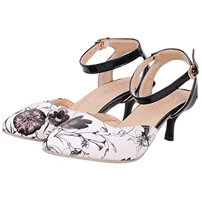 215d8647ac2 Vitalo Womens Floral Print Slingback Pumps Kitten Heels D Orsay Ankle Strao  Court Shoes Size 4
