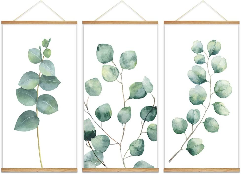 "wall26 - 3 Panel Hanging Poster with Wood Frames - Watercolor Style Leaves - Ready to Hang Decorative Wall Art - 18""x36"" x 3 Panels"