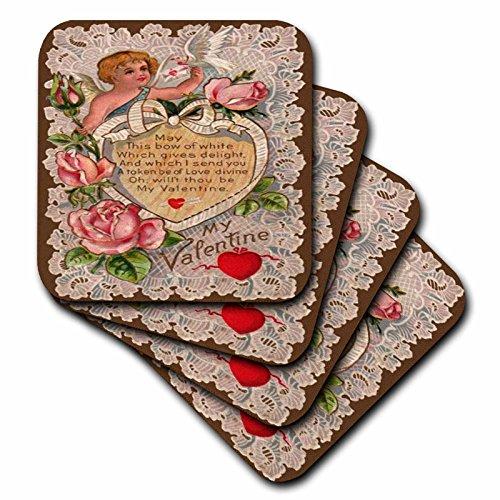 Valentine Tile (3dRose Vintage My Valentine Cupid - Ceramic Tile Coasters, Set of 4 (CST_8079_3))