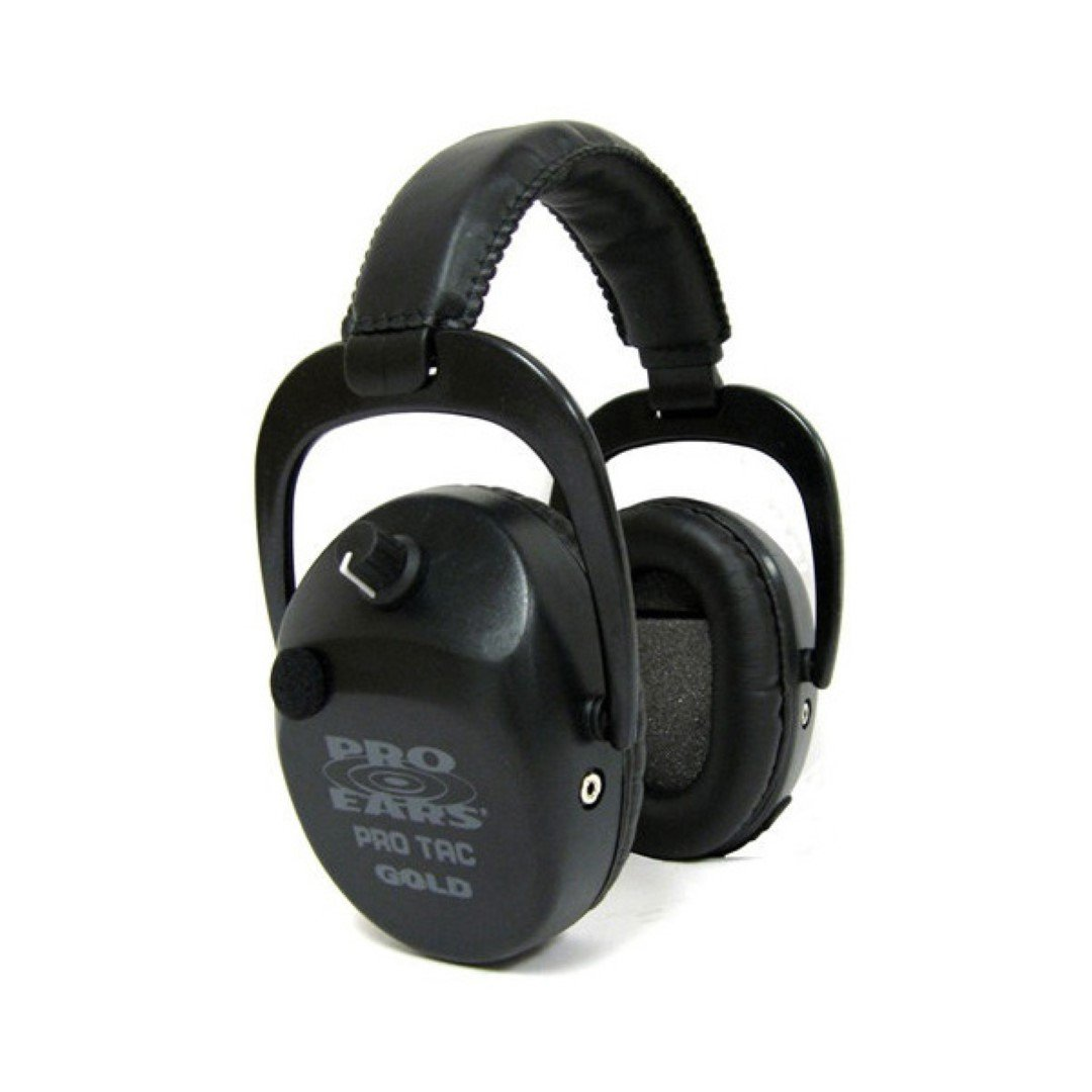 Pro Ears - Pro Tac Slim Gold - Military Grade Hearing Protection and Amplification - NRR 28 - Ear Muffs -  Lithium 123a Batteries - Black
